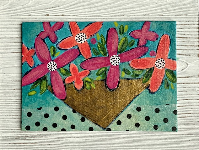 fun flower painting framed by tracy yarbrough