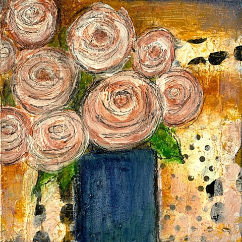 pink blush flowers collage painting by tracy yarbrough