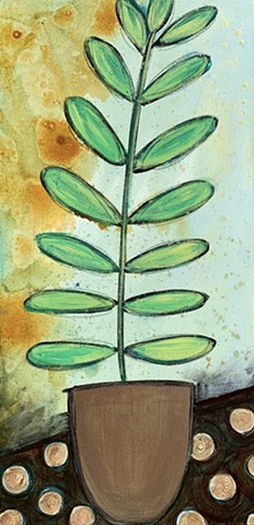 rise up green leaf plant in pot painting by tracy yarbrough