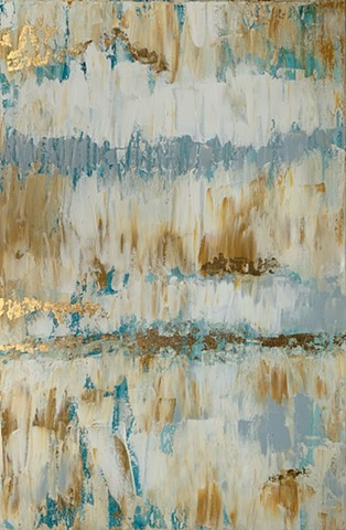 Blue neutral gold abstract painting by Tracy yarbrough