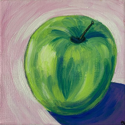 Granny Smith apple painting by Tracy yarbrough