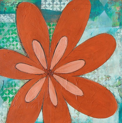 collage painting oraange flower by tracy yarbrough