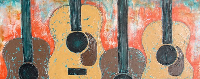 Four acoustic guitars textured painting by tracy yarbrough