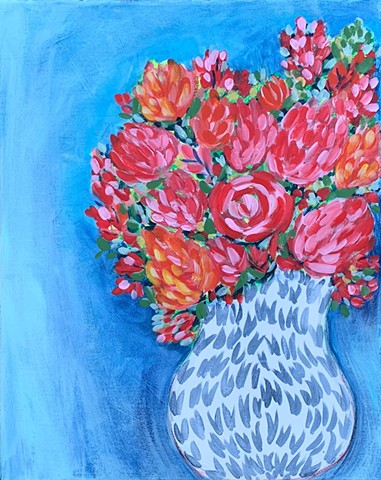 Flowers in vase acrylic on canvas by Tracy yarbrough