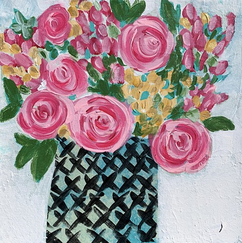 Pink roses in vase by Tracy yarbrough