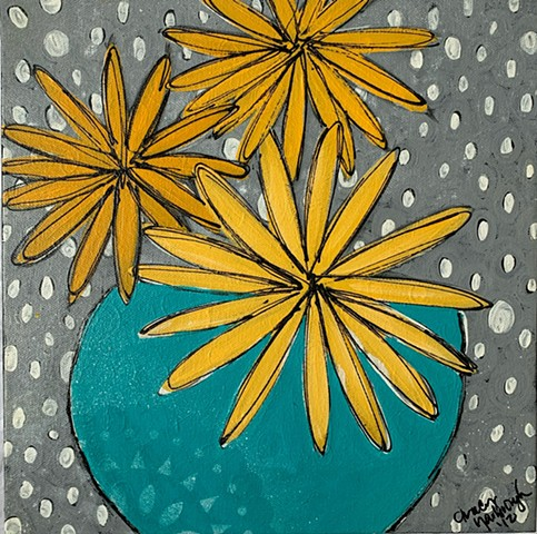 Pantone 2021 Gray and white polka dot yellow daisy painting by Tracy yarbrough