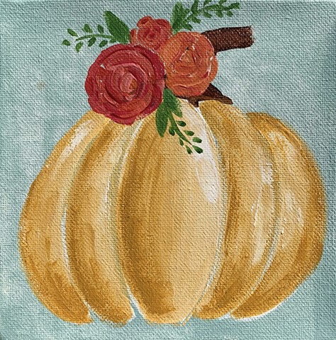 floral pumpkin painting by tracy yarbrough