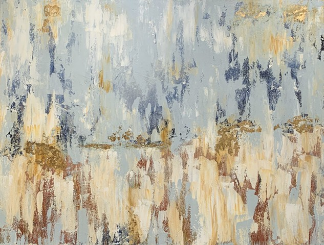 Abstract blue neutral gold painting by Tracy yarbrough