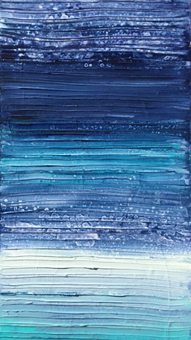 Blue abstract textured painting by Tracy yarbrough