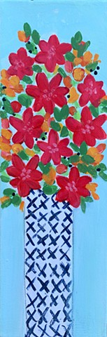Bitty Blooms flowers in patterned vase painting by Tracy yarbrough