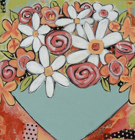 floral, abstract paintting by Tracy yarbrough