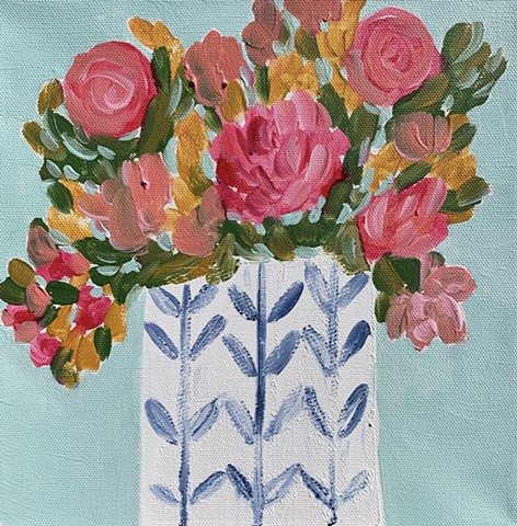 Pink flowers in vase by Tracy yarbrough