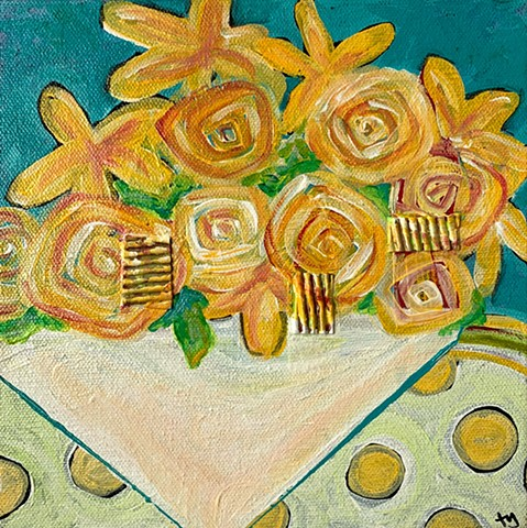 yellow flowers collage painting by tracy yarbrough