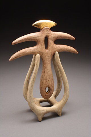 """Floating Spirit"" Abstract Ritualistic Ceramic Sculpture"