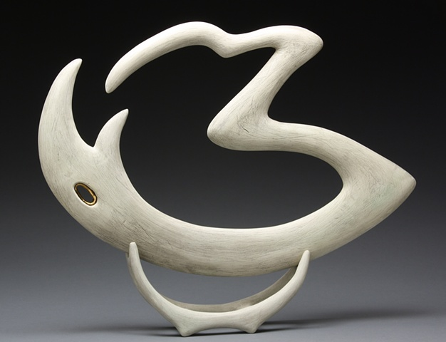"""Avis Ouroboros"" Abstract Ceramic Sculpture"