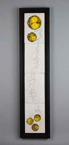 Wall art made from White earthenware, glass, iron wash, wood