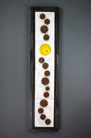 Wall art made from White earthenware, glass, iron wash, iron/rust coating
