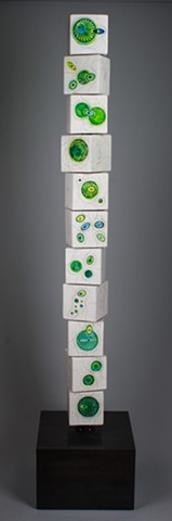 Biological Green Blue 11 Block totem