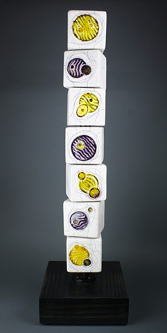 Yellow Purple Cells Mini Totem askew