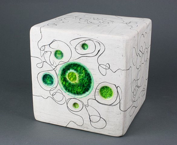 Handmade white earthenware cube with fused glass and etched line