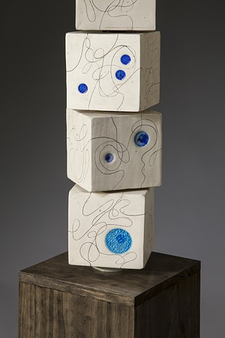 """Endless Line totem"" with blue glass close-up"