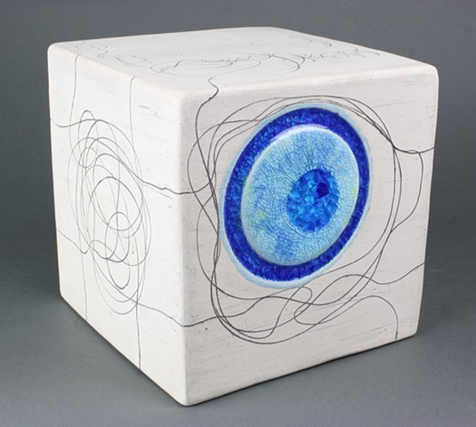 Ceramic cube with fused glass