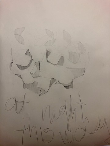 skull, pencil, laurel wreath, poetry