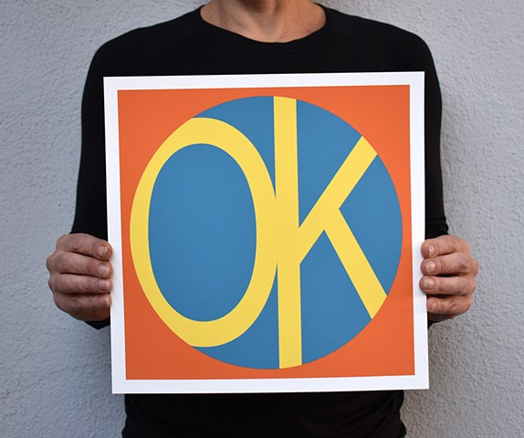 Monica Hopenwasser's small print series has a fresh, retro-vibe with high contrast, clean lines and interplay of color. The artwork is inspired by the idea it's OK to not be OK, and each work expresses this struggle with bold color, shape and text.