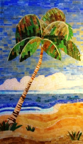Palm Tree Stained Glass Mosaic Shower
