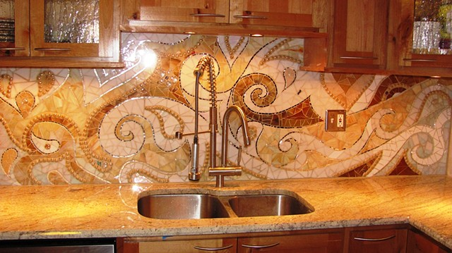 Unique kitchen backsplash mosaic