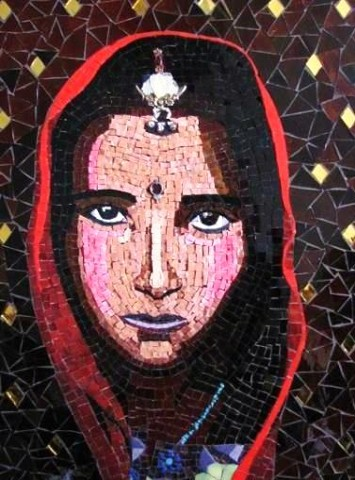 Indian Girl Mosaic with smalti and stained glass