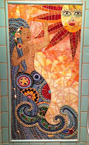 Mermaid mosaic shower