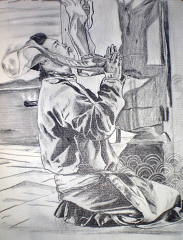 Monk in Prayer Pencil Drawing