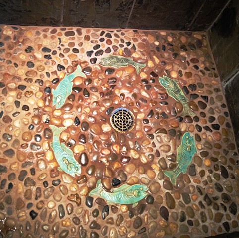 koi fish tiles shower floor