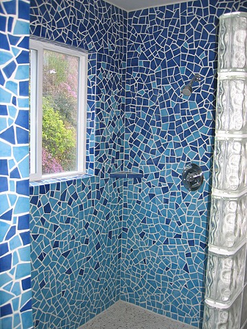 ocean shower mosaic