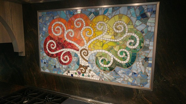 A kitchen backsplash of my favorite subject, created in my studio on fiberglash mesh, and shipped to the client for installation.