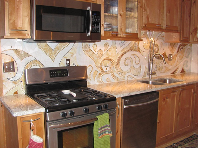 Kitchen Backsplash Mosaic, stained glass mosaic, paisley design