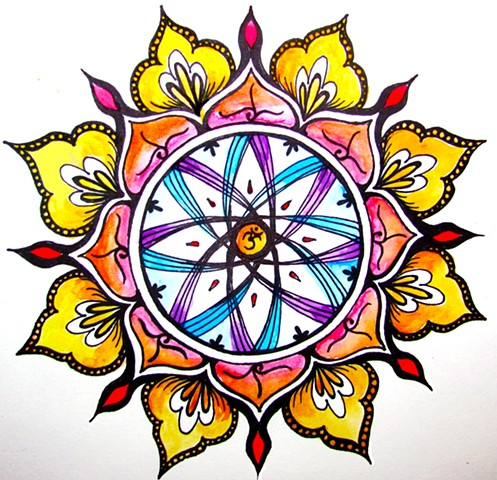 Mandala, Pen and Watercolor