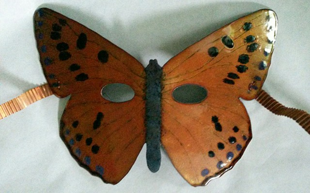 Vitreous Enamels fired on sawed, pierced, etched copper with patinated folded copper foil