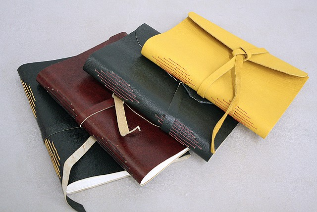 Soft cover longstitch bindings - leather
