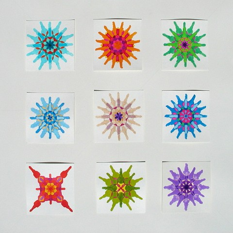 "Grid of small mandalas, watercolor & gouache, 6""X6"" (each), 2014-15"