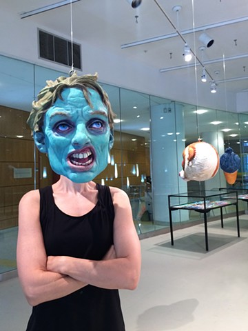 Popular Monsters Installation Zombie Head with artist Photographed by the artist's son