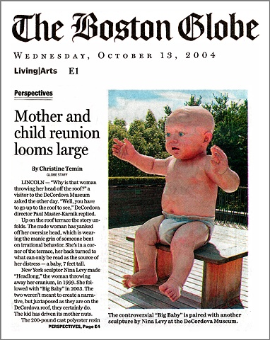 Boston Globe Article,  Big Baby at DeCordova,  By Christine Temin,  Page 1
