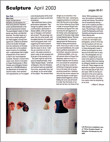 Sculpture Magazine Review,  Feigen and Metaphor Galleries,  By Robert C. Morgan