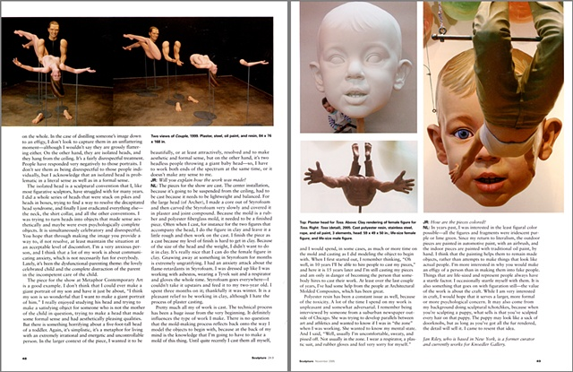 Sculpture Magazine Interview  By Jan Riley,  third spread