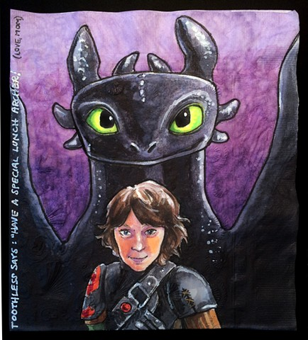 boy with nightfury dragon behind him from Dreamworks Animations Movie How to Train Your Dragon 2