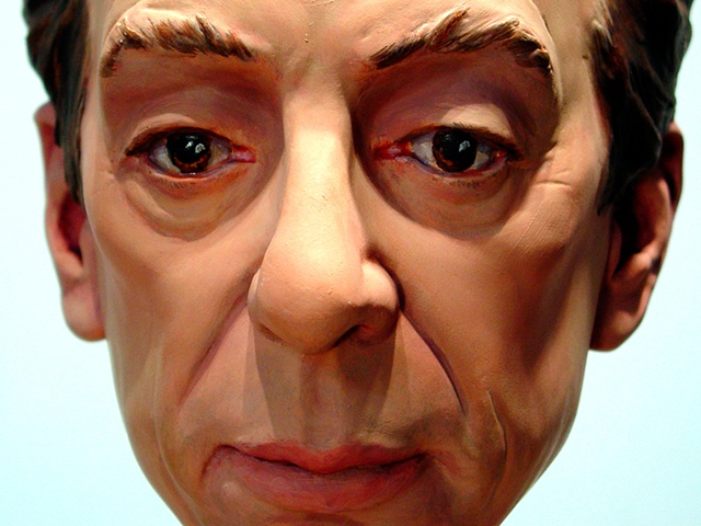 sculpted painted portrait head of artist Francis Cape