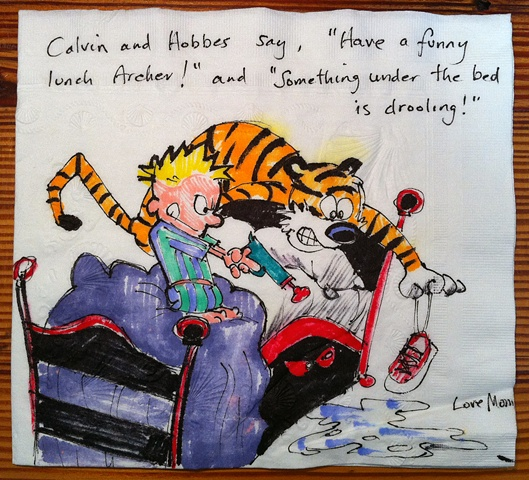 Calvin and Hobbes with Drooling Under the Bed