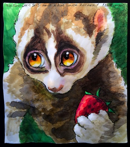 Untickled Slow Loris with Strawberry