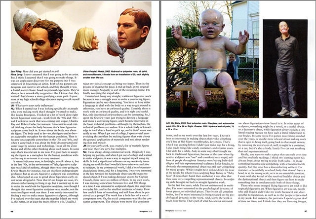 Sculpture Magazine Interview  By Jan Riley,  second spread